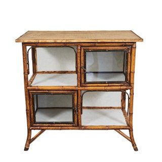 English Victorian Tiger Bamboo Cabinet