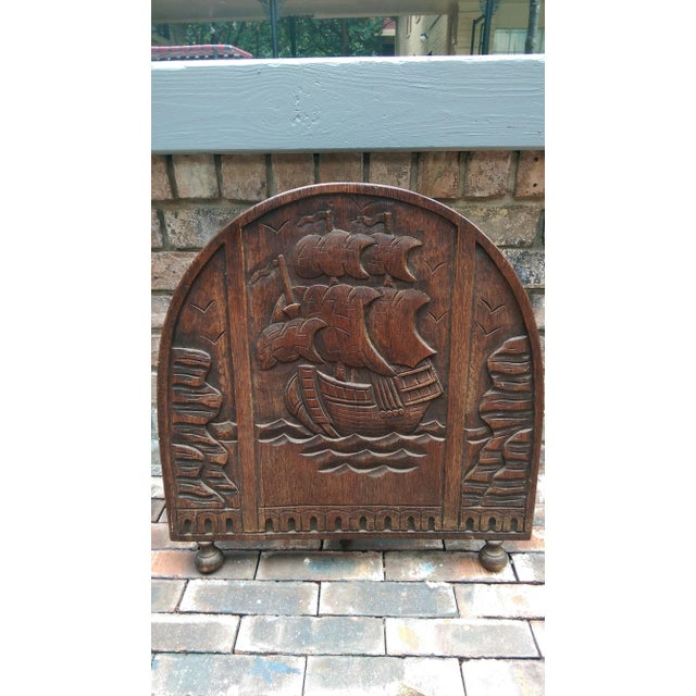 Antique Solid Wood Carved Nautical Ship Fire Screen - Image 2 of 9