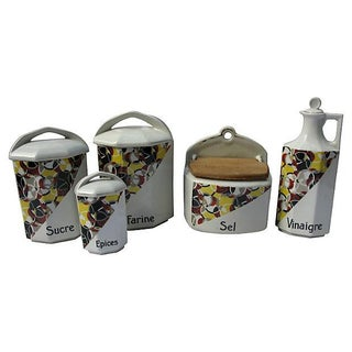 French Art Deco Porcelain Canisters - Set of 5