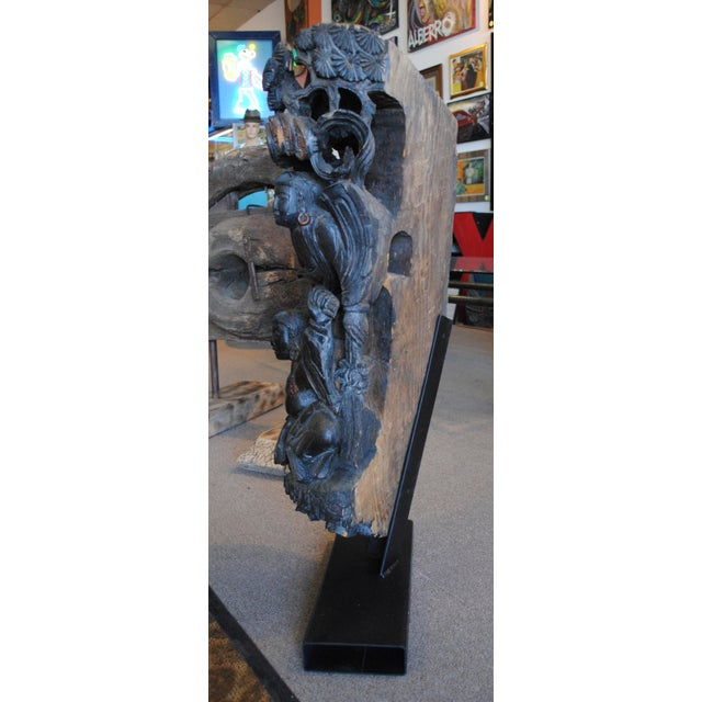 Antique Chinese Carved Wood Guardian Sculpture - Image 8 of 11