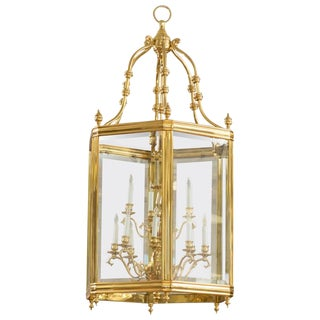 Monumental Brass & Glass 12-Light Foyer Pendant