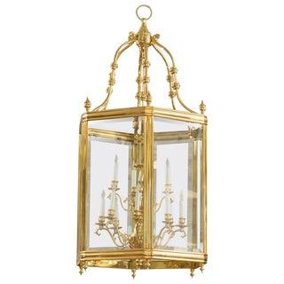 Monumental Brass & Glass 12-Light Foyer Pendant