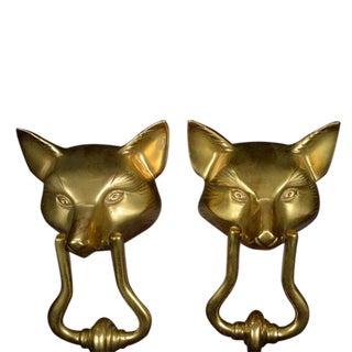 Vintage Bronze Fox Heads Door Knockers - a Pair