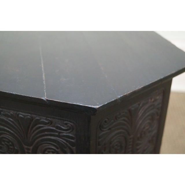 Antique Incised Carved Oak Taboret Side Table - Image 9 of 10