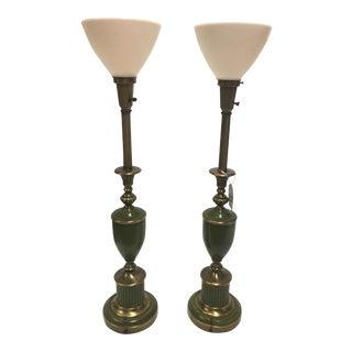 Green & Brass Stiffel Torchier Lamps - A Pair