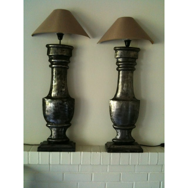 Image of European Zinc Demi-Lamps - Pair