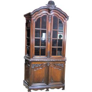 19th C. Carved Georgian 2 Pc. China Closet