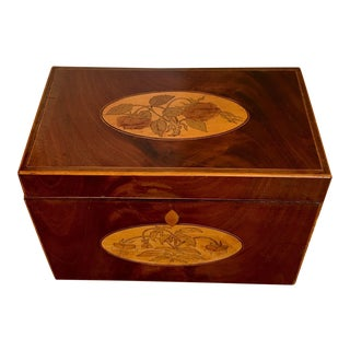 Antique Marquetry Inlaid Mahogany Tea Caddy