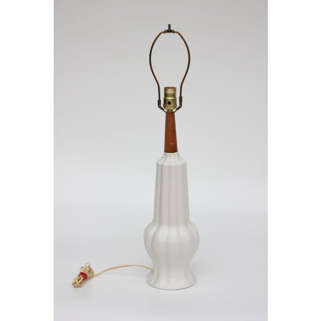 Ribbed White Ceramic Gourd Table Lamp - Image 3 of 6