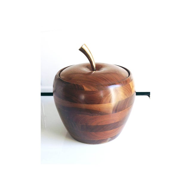 Image of Mid Century Walnut Apple Ice Bucket