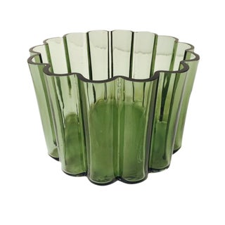 Modern Bottle Green Scalloped Edged Bowl or Vase