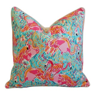 Lilly Pulitzer-Inspired/Style Topical Pink Flamingo Pillow