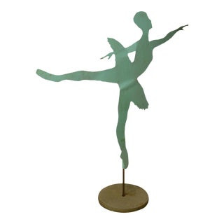Mid Century Modern Large Dancing Ballerina Metal Garden Sculpture (B)