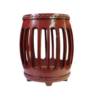 Chinese Oriental Red Round Barrel Wood Stool cs1802