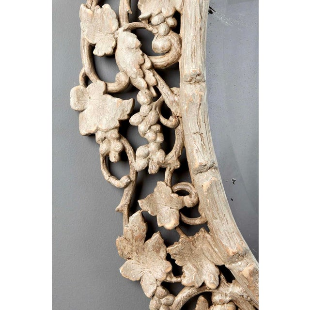 Large 1930's French Beveled Oval Mirror With Carved Grape Vines - Image 5 of 7