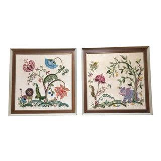 Vintage Hand Done Crewel Work Framed - a Pair