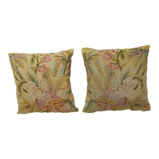 Pair of 19th Century Yellow Tapestry Pillows