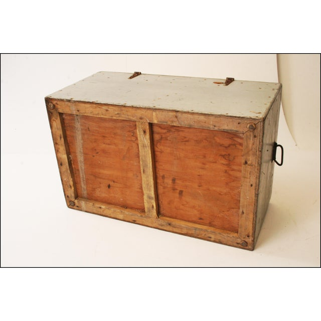 Vintage Industrial Wood Gray Military Storage Chest - Image 11 of 11