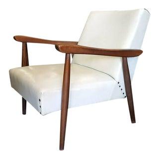 Mid-Century Modern White Pleather Wooden Armchair