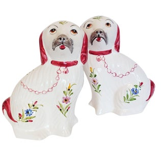 Pink Staffordshire Dog Figurine Statues - A Pair