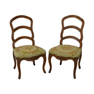Antique Pair of 19th Century Walnut Louis XVI Style Ladder Back Needlepoint Side Chairs
