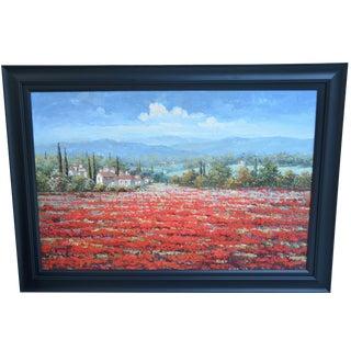 Italian Cypress Mountain Village Landscape Oil Painting