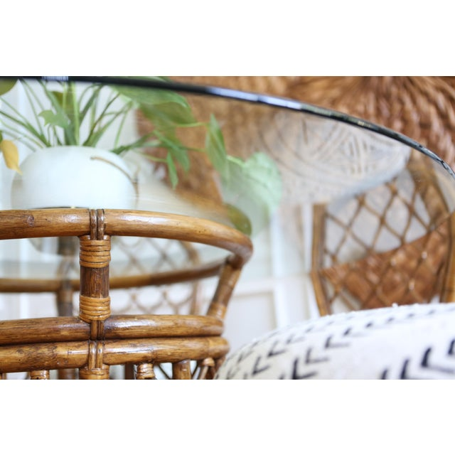 Bamboo Dining Table with Mudcloth Chairs - Set of 5 - Image 8 of 11