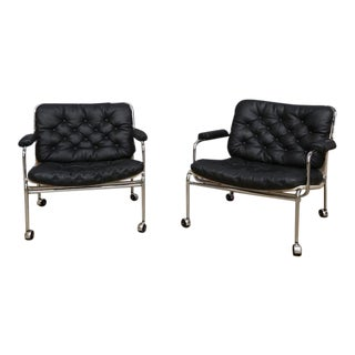 Bruno Mathsson Style Easy Chairs - a Pair