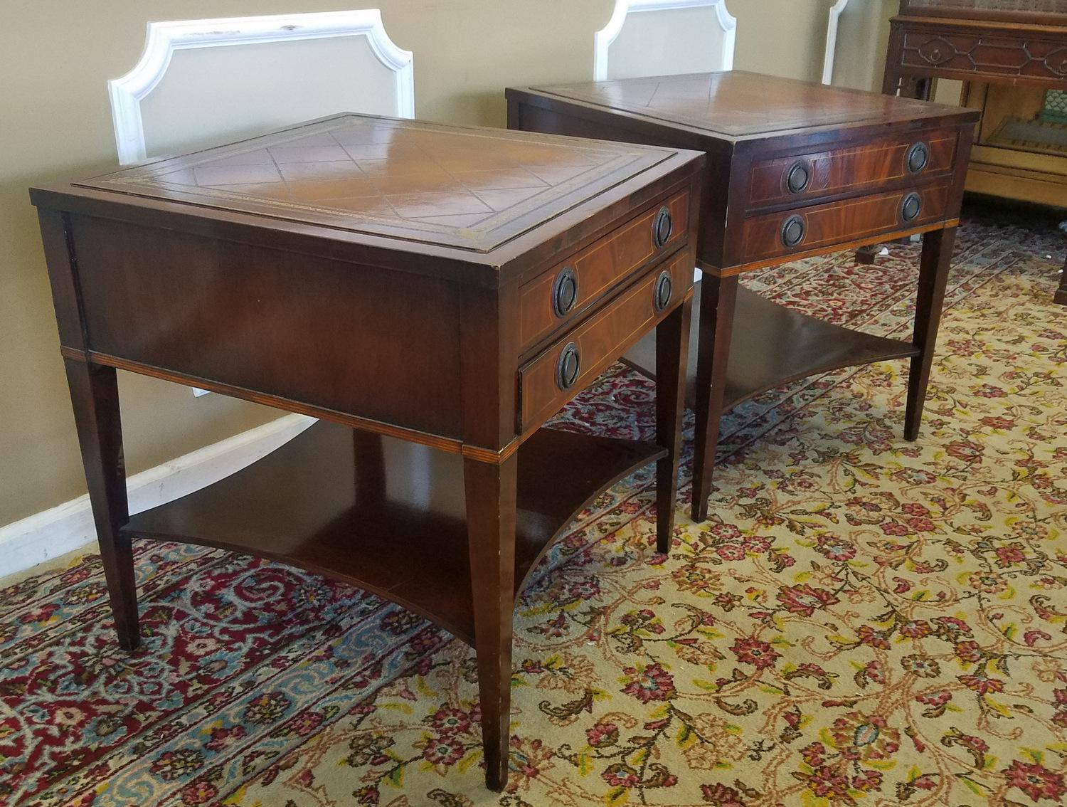pair 1950s banded u0026 inlaid leather top 2 drawer living room side tables image 9