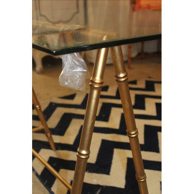 Glass & Gold Iron Faux Bamboo Dining Table - Image 3 of 6