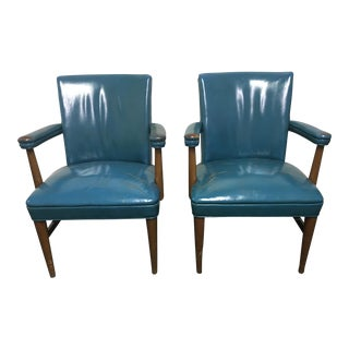 Vintage Gunlocke Leather Arm Chairs - A Pair