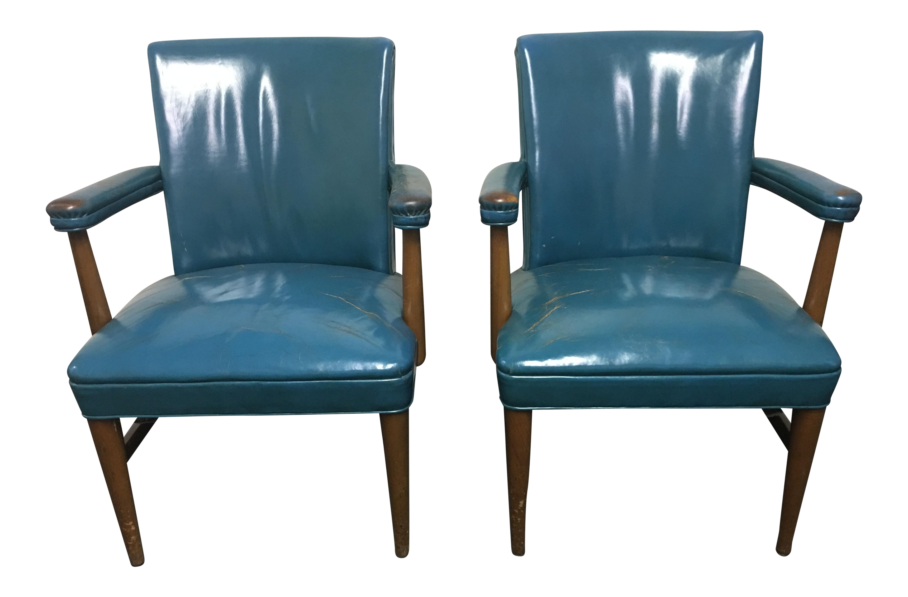 Vintage Gunlocke Leather Arm Chairs   A Pair