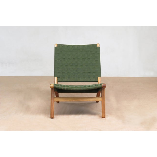 Mid-Century Modern Green Nylon Lounge Chair - Image 3 of 7