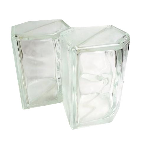 Vintage Glass Block Geometric Bookends - A Pair - Image 1 of 8