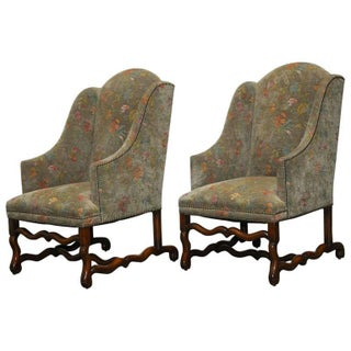 Walnut Os De Mouton Upholstered Wingback Chairs - Pair
