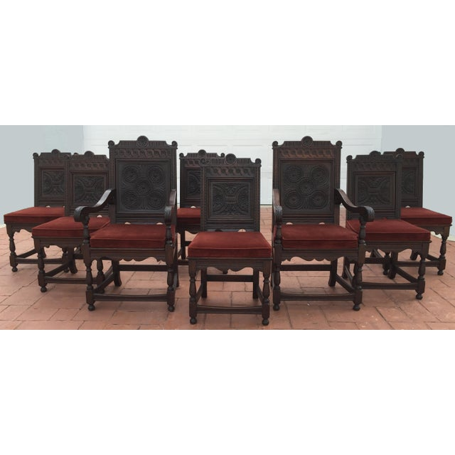 Jacobean Carved Oak Dining Chairs - Set of 8 - Image 2 of 7