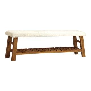 Upholstered Linen Slatted Bench