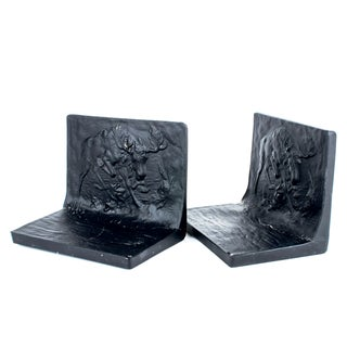 Tiffin Black Amethyst Moose Bookends - A Pair