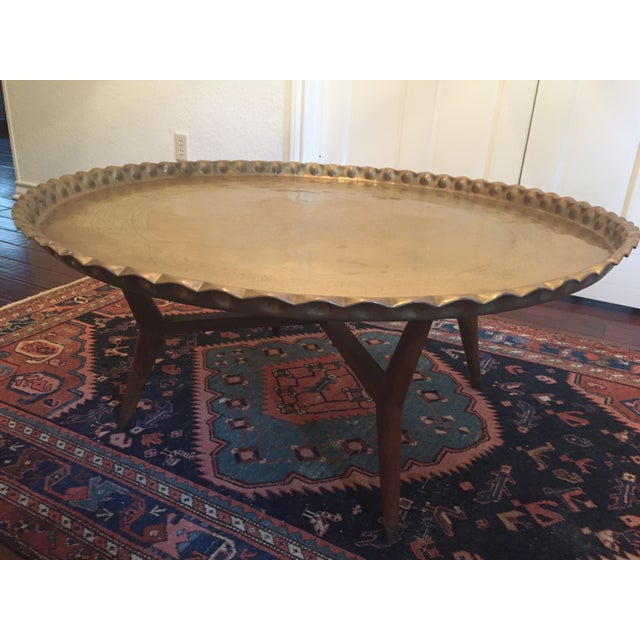 Extra Large MCM Brass Tray Coffee Table