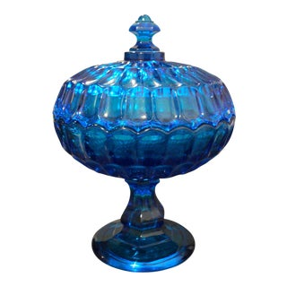 Antique Vintage Blue Glass Tall Candy Dish