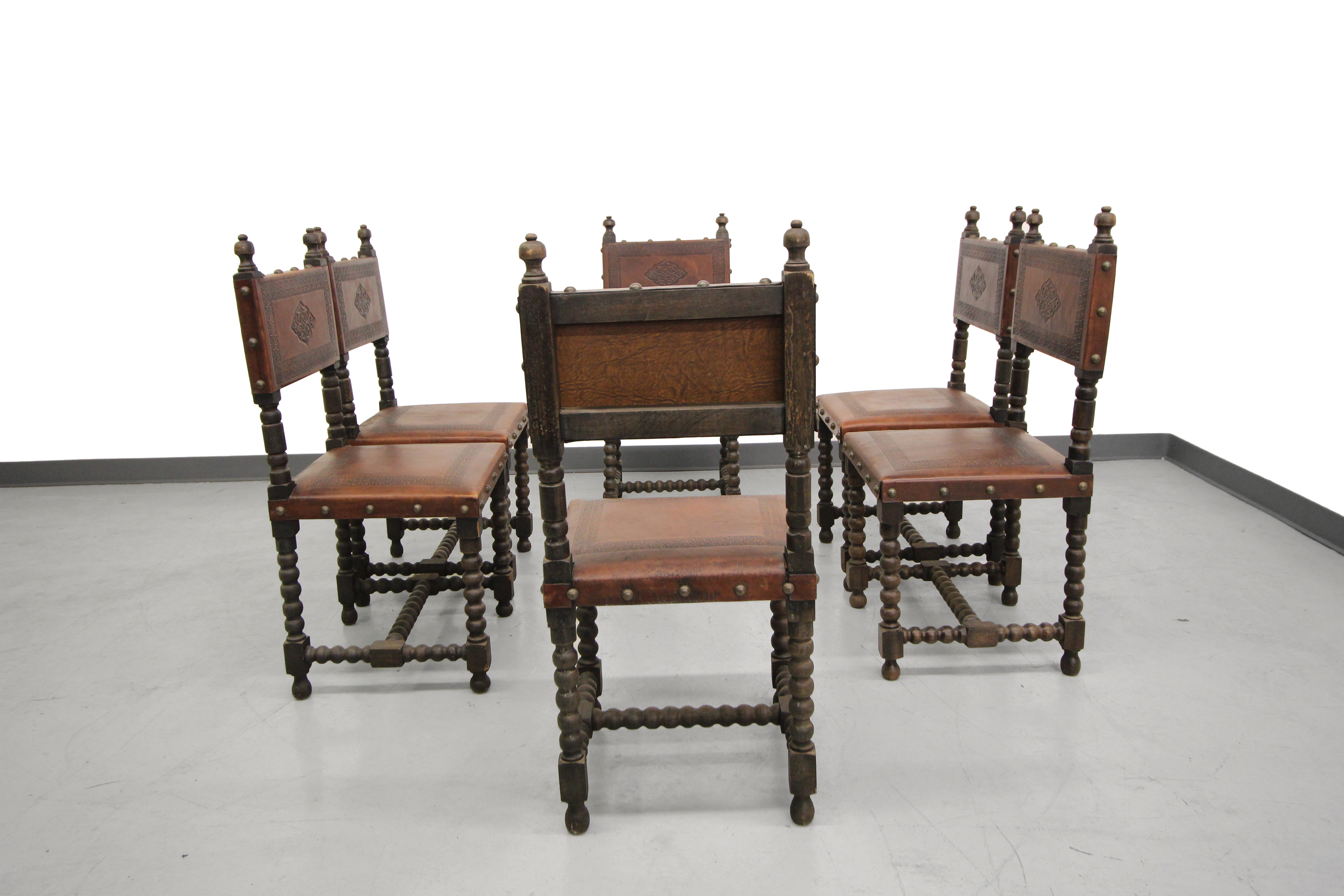 Antique Spanish Colonial Leather Dining Chairs  6   Image 2 Of 6