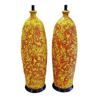 Pair of Fab Brutal Lava Glaze Modern Pottery Lamps