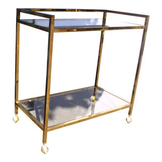 Brass Regency Rolling Bar Cart