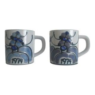 1974 Ellen Malmar Royal Copenhagen Fajance Porcelain Mugs- A Pair