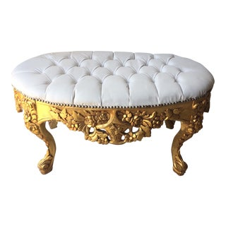 White Leather Tufted Ottoman With Floral Carvings