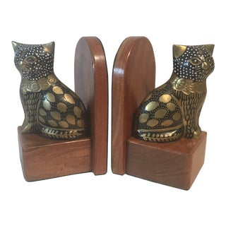 Calico Cat Painted Bookends - A Pair
