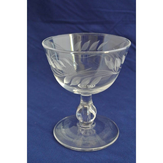 Antique Etched Crystal Champagne Coupes - Set of 9 - Image 4 of 11