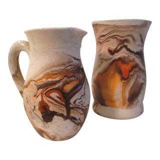 Nemadji Pottery Swirl Vessels - A Pair
