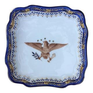Vintage Porcelain Cobalt & Gold Eagle Tray Dish