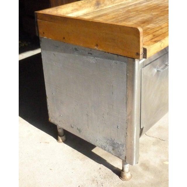 Butcher Block Steel Commercial Kitchen Island Chairish